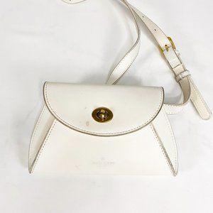 ABBOTT VINTAGE Leather Fanny Pack White Twist Lock